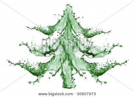 Christmas tree From Water Splashing