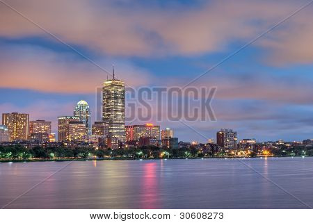 Boston at Sunset Over the Charles