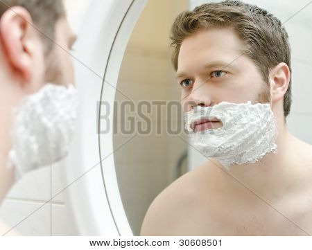 Man Preparing To Shave, Foam On Face