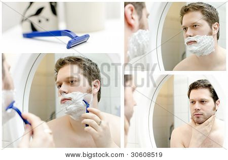 Collage Of Man Shaving. Four Photos.