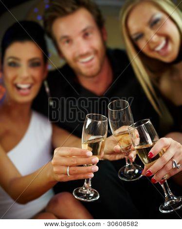 Happy people clinking glasses, celebrating, having fun.?