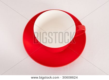 Empty Red Coffee Cup On White Background