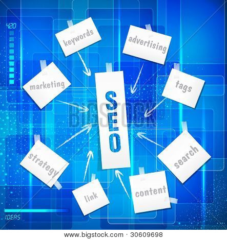 vector search engine optimization ( SEO concept)  in word tag cloud on blue background in techno style