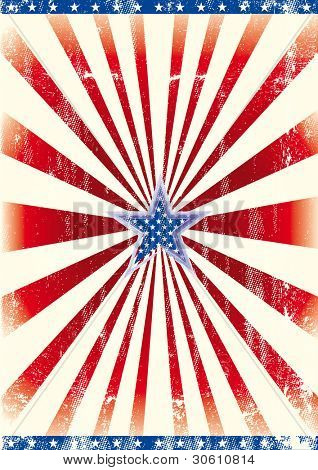 Patriotic star background. A poster of america with a blue star for you