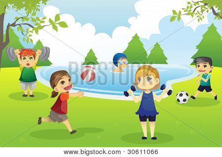 Kids Exercising In Park
