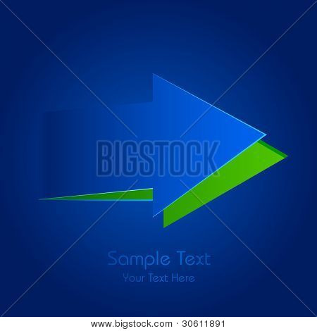 illustration of paper cut out arrow in blue background