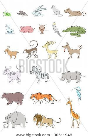illustration of set of different animal on isolated background