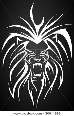 illustration of close up face of lion tattoo