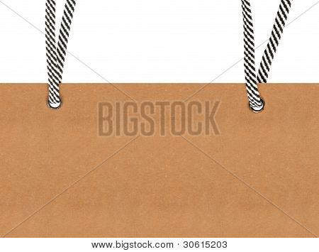 Paper Card Hangs On A Rope Over White Background
