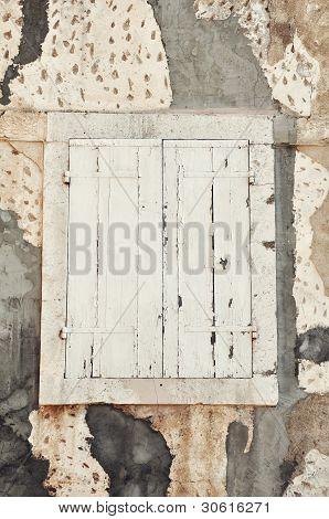 White old wooden shutter