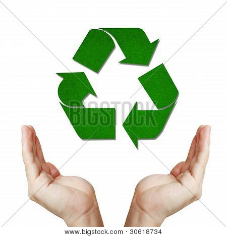 Recycled Paper Sign Floating On Well Shaped Hand