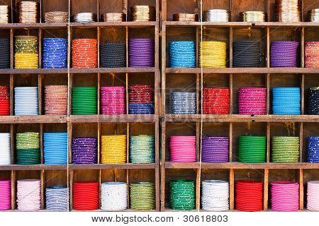 Colorful Bracelets In A Market