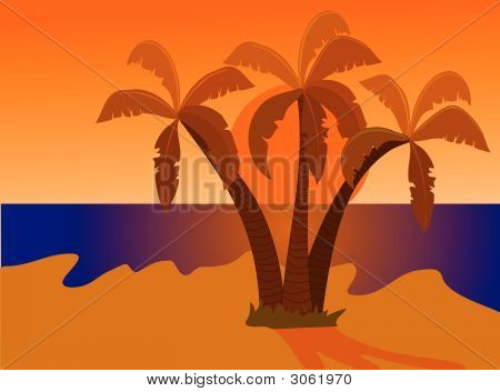 Desert Island At Sunset