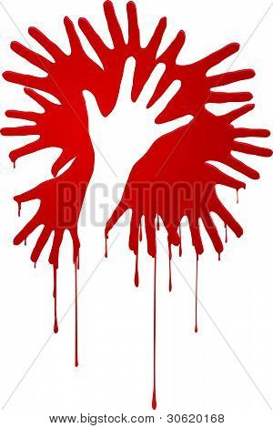 Abstract bloody hands