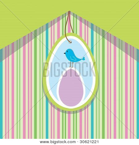 Spring Card With Egg And Bird