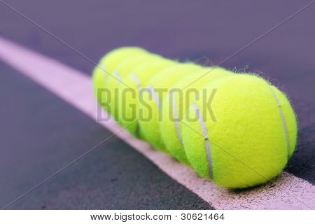 Tennis Balls Closeup On Hard Court Synthetic Tennis Turf