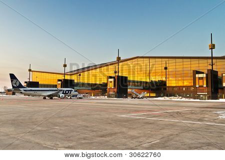 GDANSK AIRPORT, POLAND - JAN 29: New modern terminal at Lech Walesa Airport in Gdansk on Jan. 29, 2012. The terminal will be use from April to be ready for soccer Euro Cup 2012.