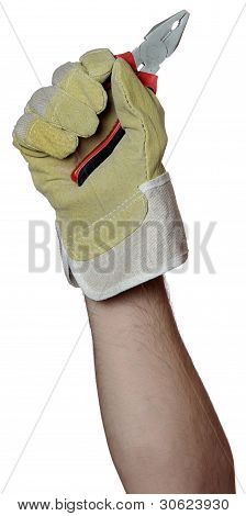 Handyman With Working Glove Holding A Pincers