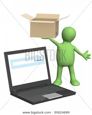 Online shipping. Puppet witn laptop and box. Isolated over white