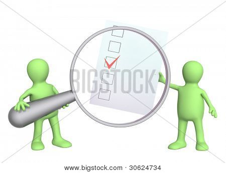 3D puppets with checklist and loupe. Isolated over white