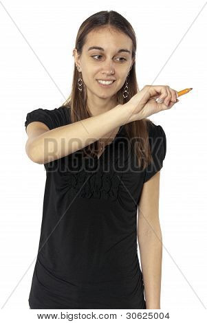 Business Woman Writing Glass Towards Camera