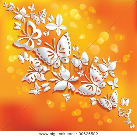 Origami butterflies on the sunny background.