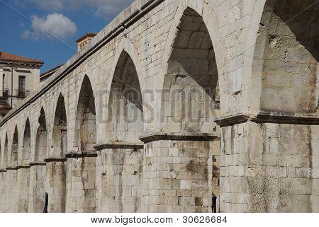 aqueduct in Garibaldi's square, Sulmona, Italy