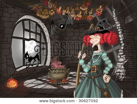 Illustration with witch