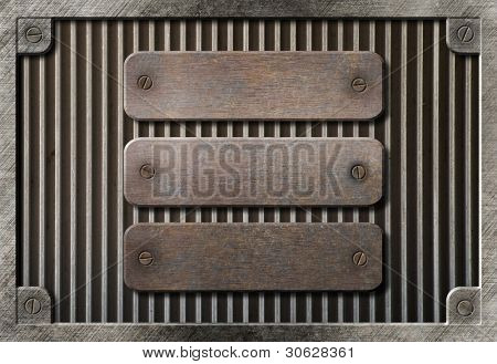 three rusty plates over metal grid background