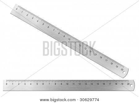 Régua de metal vinte centímetros isolada no branco