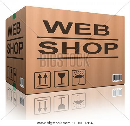 web shop cardboard box online shopping and placing order on internet package delivery worldwide brown post parcel icon ecommerce concept