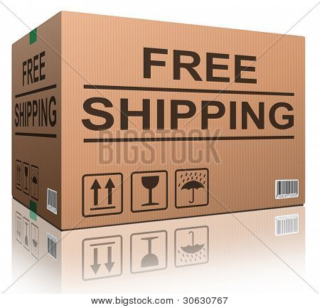free shipping or delivery order web shop shipment in cardboard box icon for online shopping ecommerce button