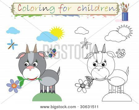 Coloring for children ,funny,cute goat.