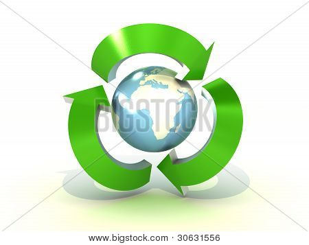 Recycling World On White Background. 3D Image
