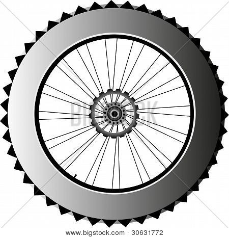 Metall Bike Rad mit Reifen und Speichen. Vektor