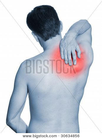 Rear View Of A Young Man Holding Her Neck In Pain