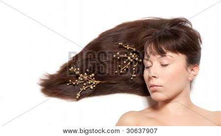 long hair straightened on the floor with gold decoration