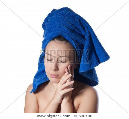 portrait of young beautiful woman after bath