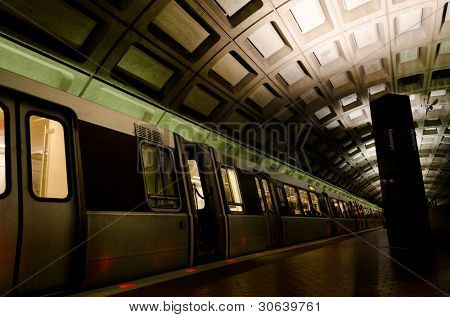 Metro station interior  in Washington DC, United States