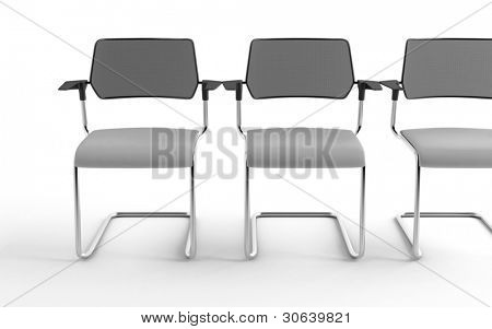 Three modern chairs isolated on a white background