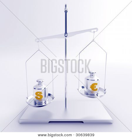 silver scales with weights with symbols of dollar and euro