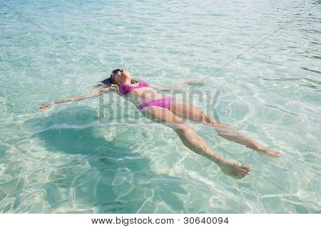 Girl Relaxing in Paradise Tropical Bay