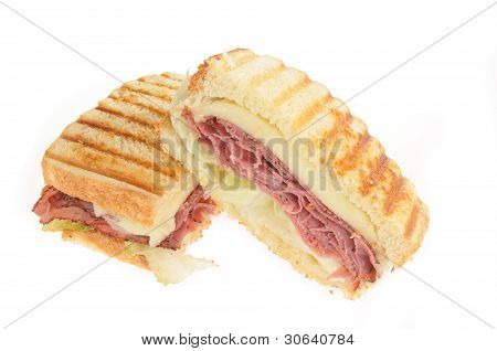 Grilled Roast Beef And Cheese Panini Or Sandwich