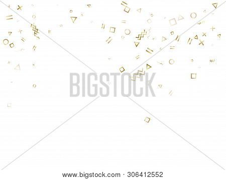 poster of Memphis Style Gold Geometric Confetti Vector Background With Triangle, Circle, Square Shapes, Zigzag