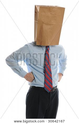 Businessman with paper bag on his head on a white background