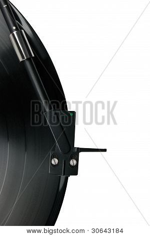 Tonearm On Vinyl Lp, Black Headshell, Isolated Macro Closeup