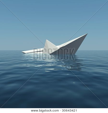 Paper boat is sinking into the sea