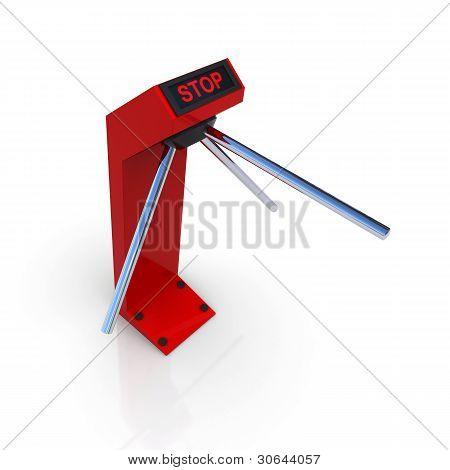 Turnstile red forbidding passage