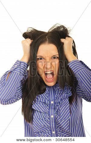 Nervous Woman Pulls Her Hair Out