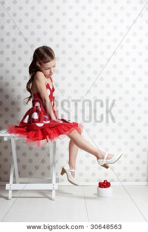 Portrait of little pin-up girl
